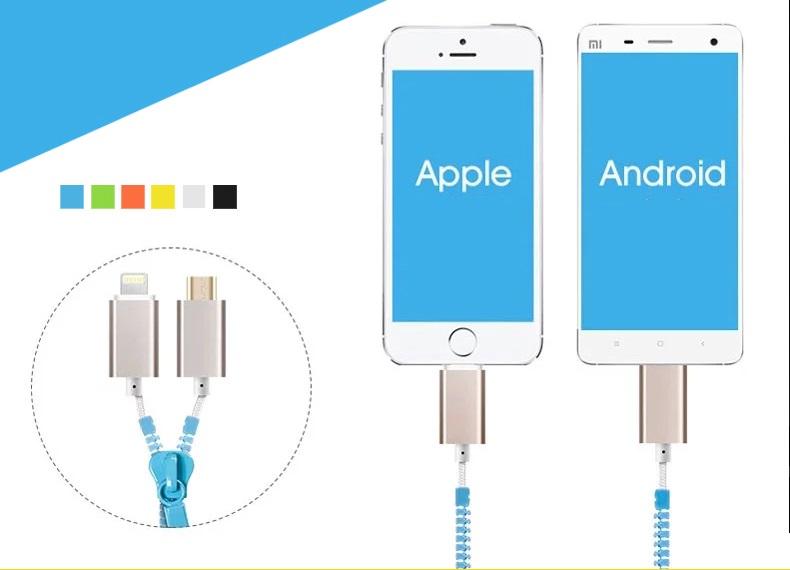 สายชาร์จ Iphone & Android 2 in 1 รุ่น Zipper - Omega Case 2