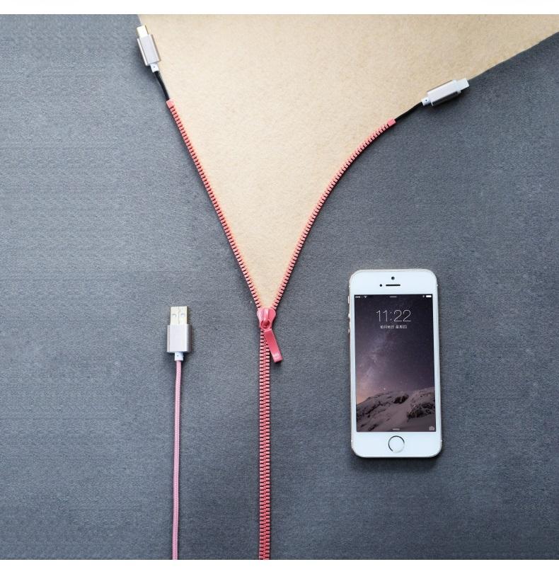 สายชาร์จ Iphone & Android 2 in 1 รุ่น Zipper - Omega Case 6